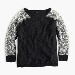 J. Crew Grey Sweater With Edged Lace - Size XS